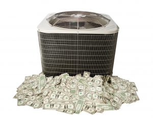 air conditioner unit on pile of money